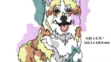 Welsh Corgi Watercolor machine embroidery design