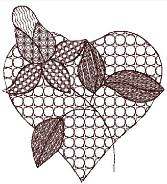 Valentine day HEART free machine embroidery design