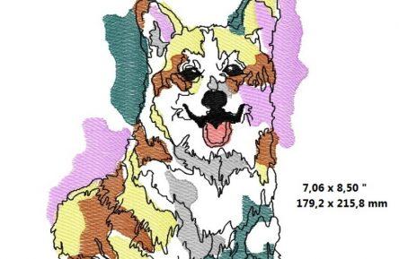 Welsh Corgi Watercolor embroidery design