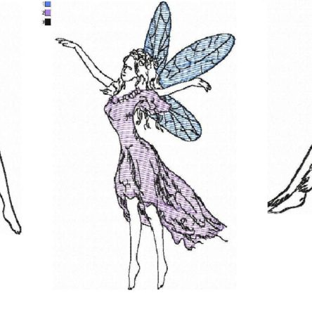 Three fairies. Free embroidery designs