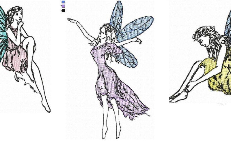 Three fairies. Free embroidery designs