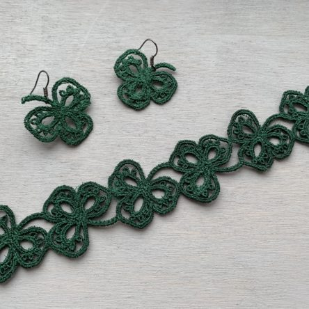 Shamrock tatting earrings and bracelet designs