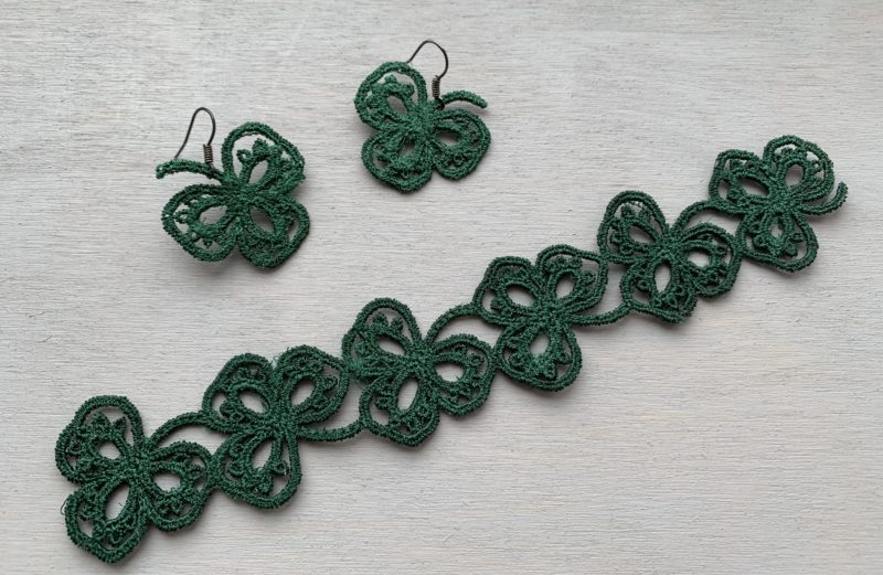 Shamrock earrings bracelet embroidery designs FSL