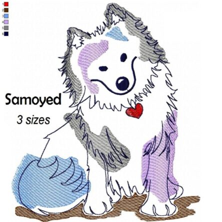 Samoyed Watercolor embroidery design