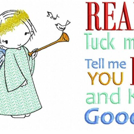 Read me a story with Angel embroidery designs