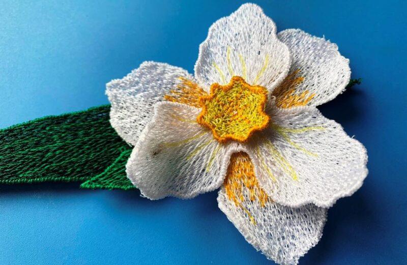 3d Daffodil embroidery design