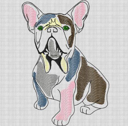 French Bulldog embroidery design