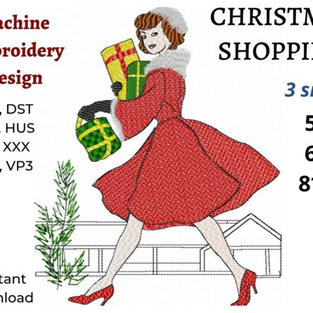 Christmas shopping embroidery design