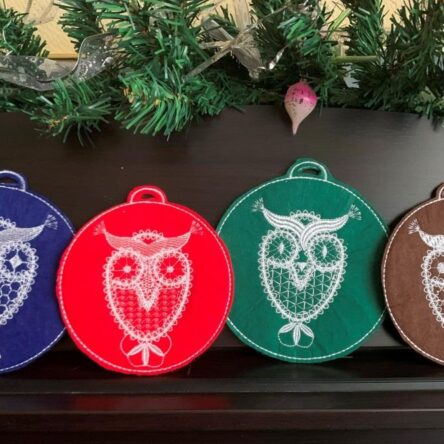 Christmas owls embroidery designs set