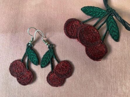 Cherry earrings embroidery design
