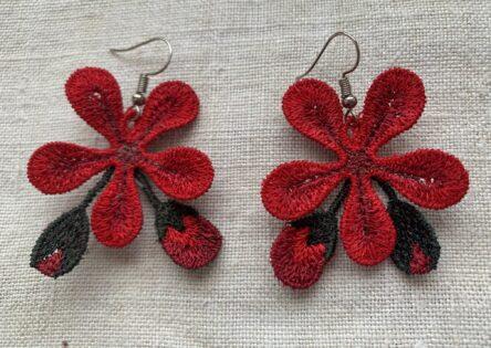 Geranium earrings embroidery design