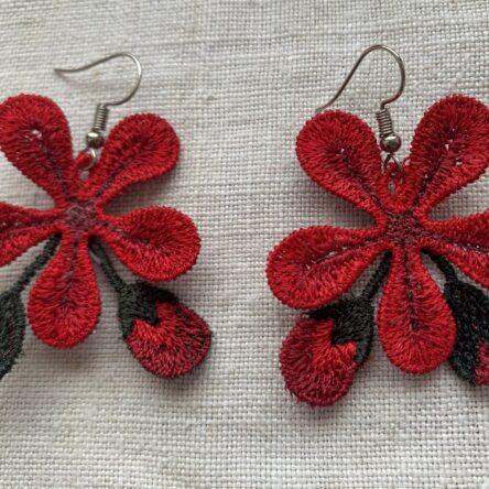 Geranium earrings embroidery design FSL