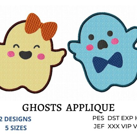 Ghost applique embroidery designs
