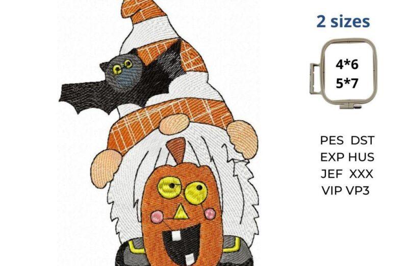 Halloween Gnome embroidery design