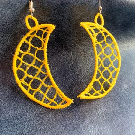 Crescent Moon earrings embroidery design
